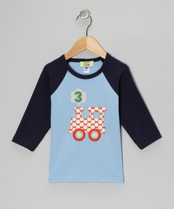 Blue Train Personalized Raglan Tee - Infant & Toddler