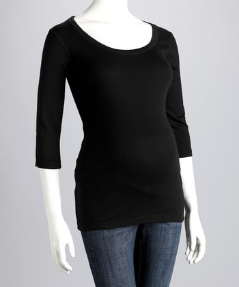 Black Maternity Three-Quarter-Sleeve Tee