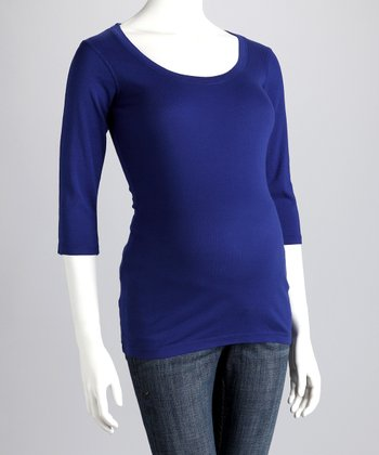 Sapphire Blue Maternity Three-Quarter-Sleeve Tee