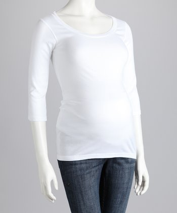 White Maternity Three-Quarter-Sleeve Tee