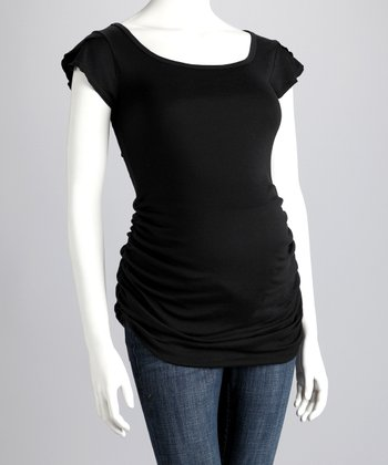 Black Ruched Maternity Cap-Sleeve Tee
