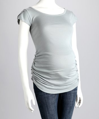 Earl Gray Ruched Maternity Cap-Sleeve Tee
