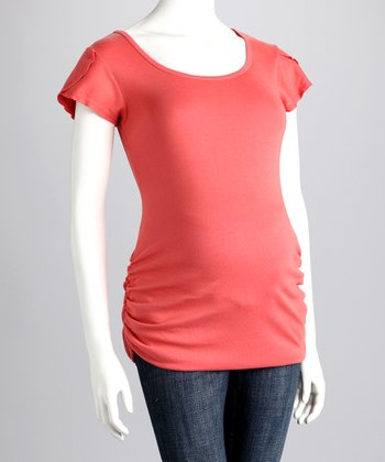 Persimmon Ruched Maternity Cap-Sleeve Tee