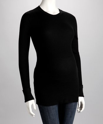 Black Maternity Crewneck Tee