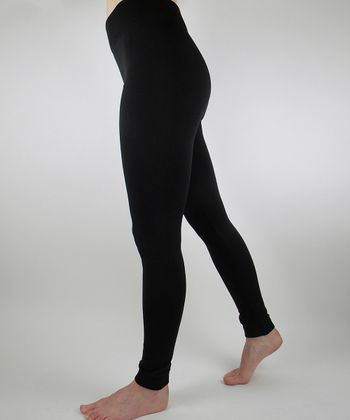 Black Fleece Footless Tights - Women