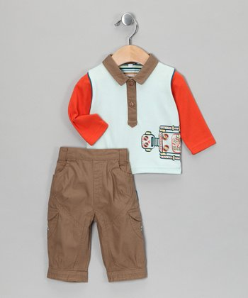 Light Blue Robot Polo & Pants - Infant
