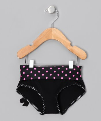 Black Polka Dot Undershorts - Girls