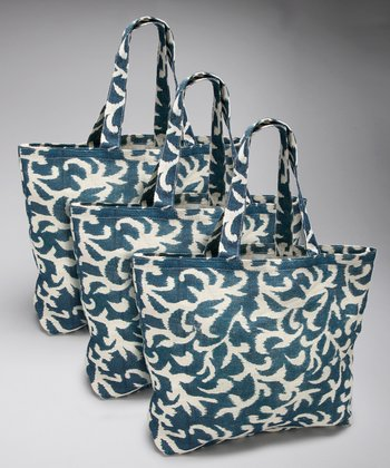 Blue Ikat Oversize Tote - Set of Three