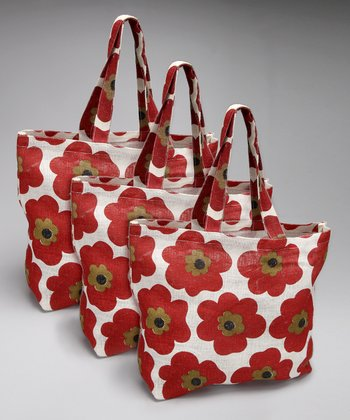 Pansy Chile Red Jute Oversize Tote - Set of Three