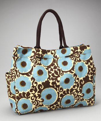 Brown & Blue Imperial Rosette Carryall Tote