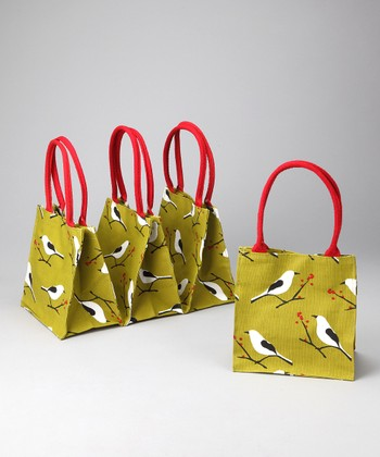 Green Snowy Bird All Over Itsy Bitsy Tote - Set of Four