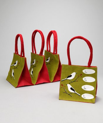 rockflowerpaper Green Snowy Bird To-From Itsy Bitsy Tote - Set of Four