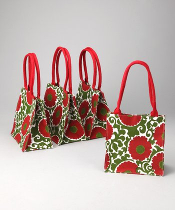 rockflowerpaper Red Imperial Rosette Itsy Bitsy Tote - Set of Four