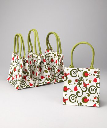 rockflowerpaper White Partridge in a Pear Tree Itsy Bitsy Tote - Set of Four