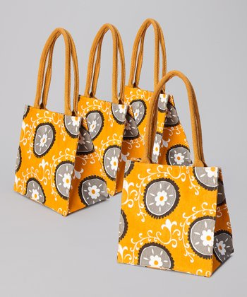 Pumpkin Suzani Itsy Bitsy Tote - Set of Four