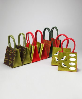 rockflowerpaper Red & Green Holiday Itsy Bitsy Tote - Set of Eight