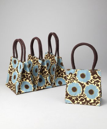 Brown & Blue Imperial Rosette Itsy Bitsy Tote - Set of Four