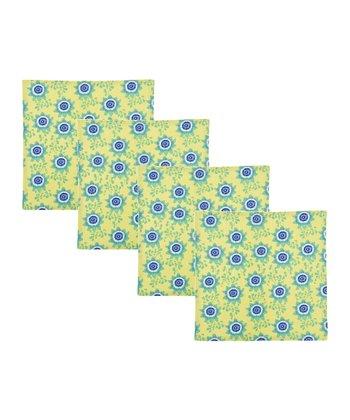 Green Passion Flower Napkin - Set of Four