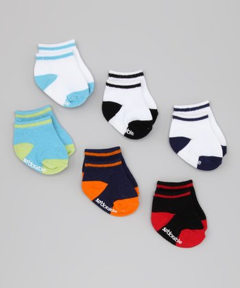Contrast Toe Cap Socks Set