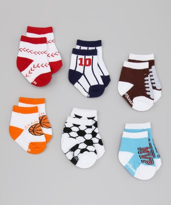 Blue & White Sports Socks Set
