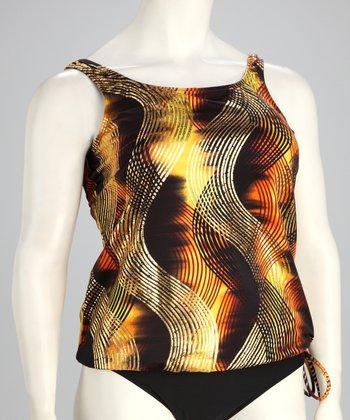 topanga By T.H.E. T.H.E Swim Brown & Yellow Side-Tie Tankini Top - Women & Plus
