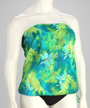 Green & Blue Hibiscus Convertible Tankini Top - Women & Plus