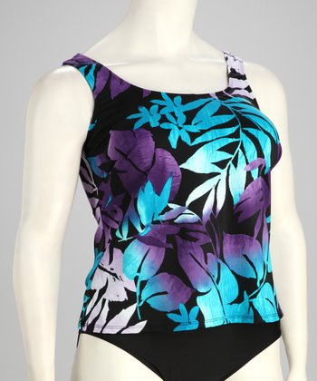 Blue & Purple Tropical Plus-Size Tankini Top