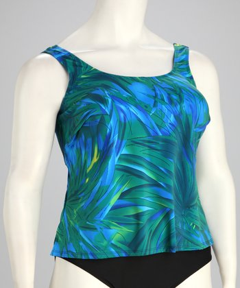 Blue & Green Leaf Plus-Size Tankini Top