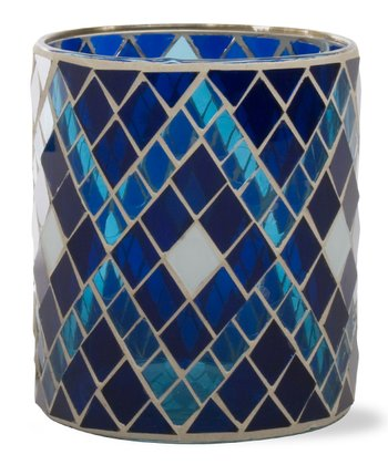 Indigo Mosaic Glass Votive