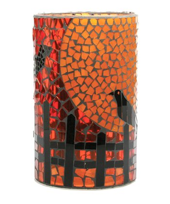 Orange & Black Crow Mosaic Hurricane Candleholder