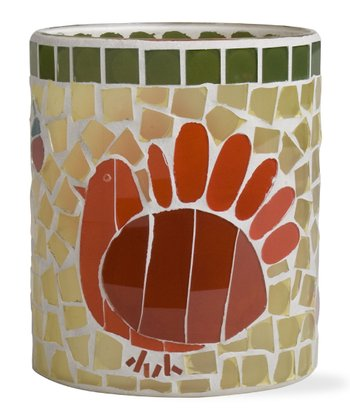 Turkey Mosaic Glass Hurricane Candleholder