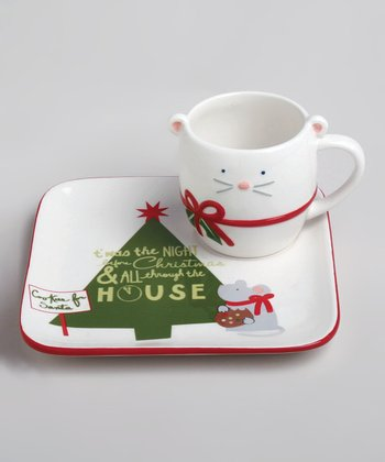 White Happy Holidays Plate & Mug