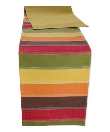 Fall Harvest Stripe Pleated 90'' Table Runner