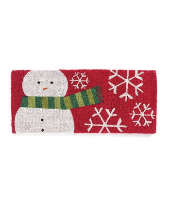 Red & Green Snowman Scarf Coir Doormat