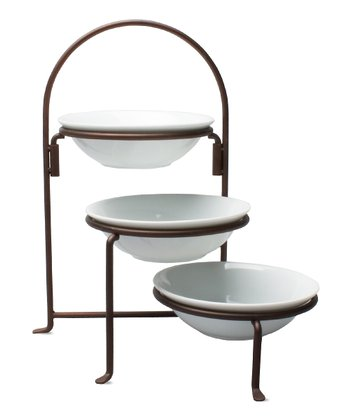 Bronze Collapsible Tiered Bowl Rack
