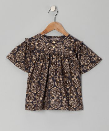 Black & Gold Crest Hand-Blocked Top - Toddler & Girls
