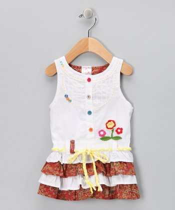 White Ruffle Tiered Dress - Infant, Toddler & Girls