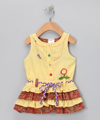 Yellow Ruffle Tiered Dress - Infant, Toddler & Girls
