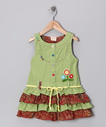 Lime Ruffle Tiered Dress - Infant, Toddler & Girls