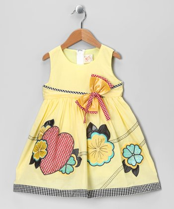 Pale Yellow Floral Heart Babydoll Dress - Infant, Toddler & Girls