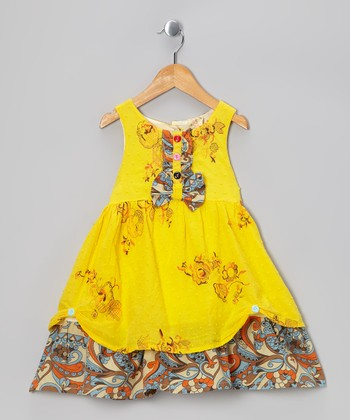 Yellow Floral Ruffle Dress - Infant