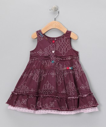 Purple Lace-Trim Button Dress - Infant, Toddler & Girls