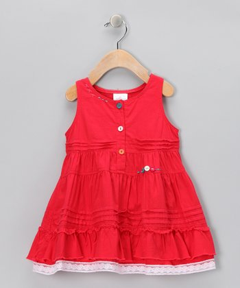 Red Lace-Trim Button Dress - Infant, Toddler & Girls
