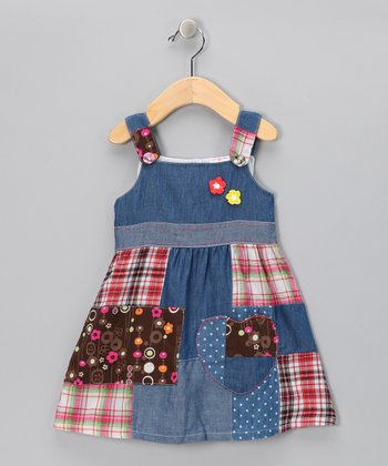 Denim & Red Plaid Patch Dress - Infant, Toddler & Girls