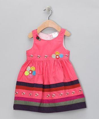 Pink Stripe Blossom Dress - Infant, Toddler & Girls