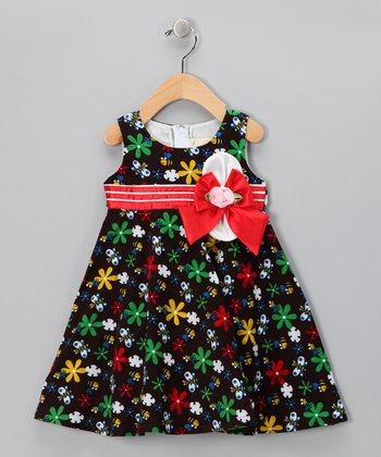 Brown & Red Happy Bee Bow Dress - Toddler & Girls