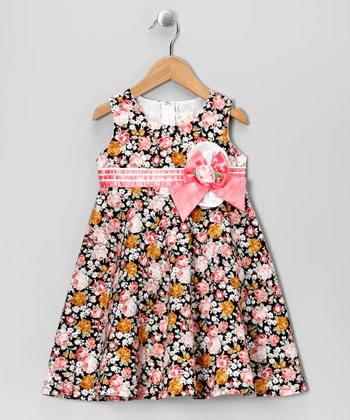 Pink & Black Floral Babydoll Dress - Toddler & Girls
