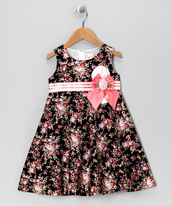 Black & Light Pink Floral Bow Dress - Toddler & Girls