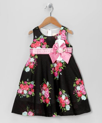 Black & Floral Babydoll Dress - Toddler & Girls