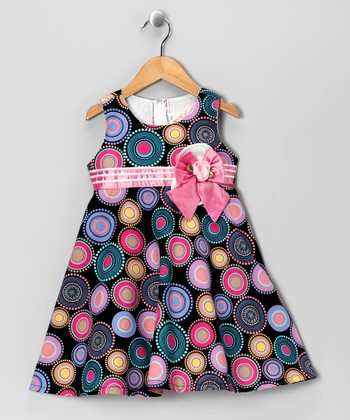 Black & Pink Modern Circle Babydoll Dress - Toddler & Girls